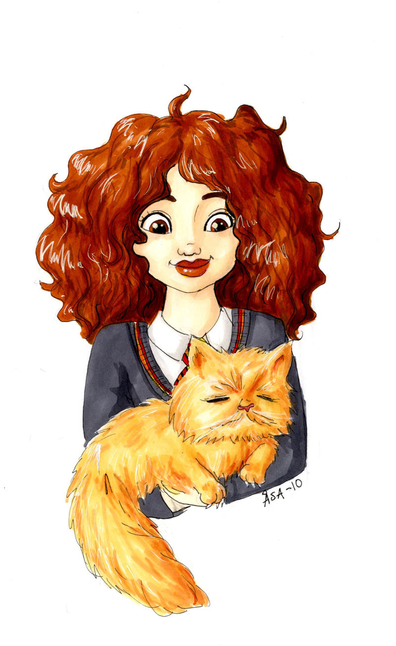 Hermione Granger and Crookshanks 2 by Damian-Damian on