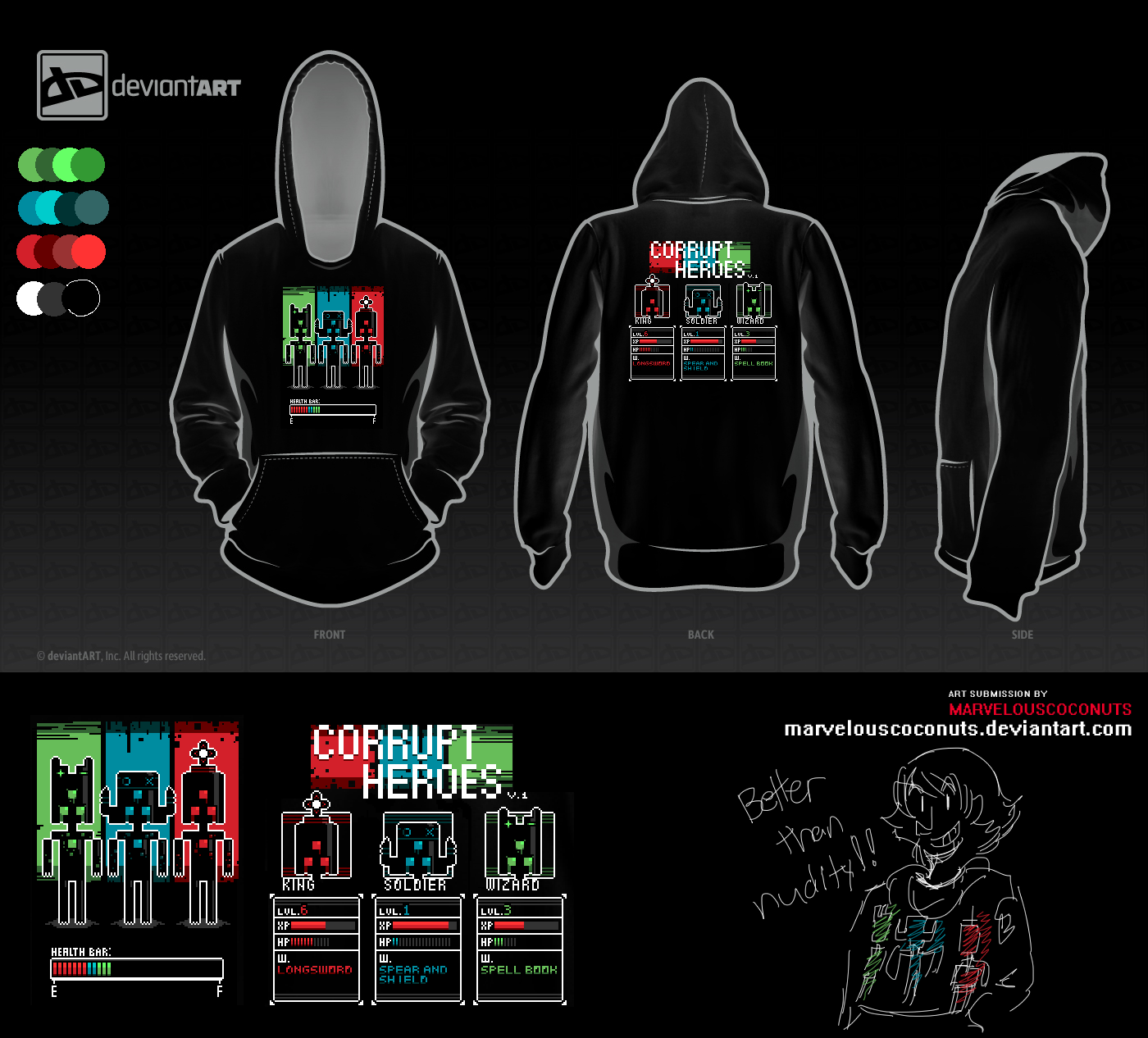 8-Bit Shirt Challenge - CORRUPT HEROES by MarvelousCoconuts