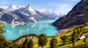 Swiss Mountain Lake View by behindspace99