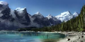 Moraine Lake, Canada,1 hour, speedpaint