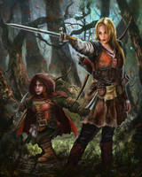 female human warrior and female halfling rogue.
