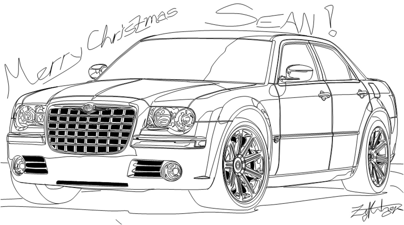 chrysler 300 drawings sketch coloring page