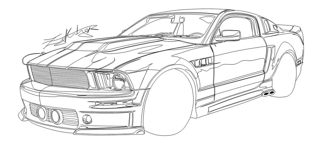 how to draw ford mustang gt sketch coloring page