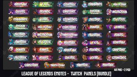 [Bundle] League Of Legends Emotes - Twitch Panels