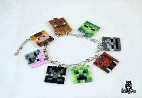 Minecraft characters Perler Hama Beads Bracelet by zestyden