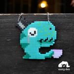 My Little Tea Rex Perler Hama Beads Necklace