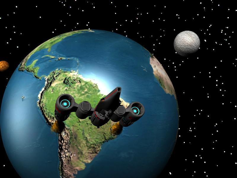 spaceship leaving earth