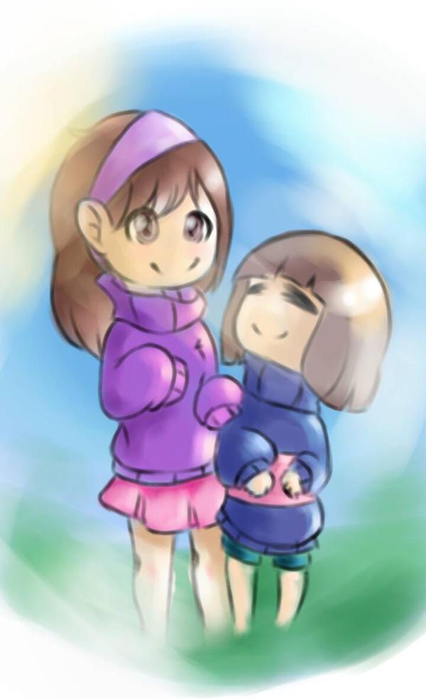 Frisk meets Mabel - fan art. by uniiz