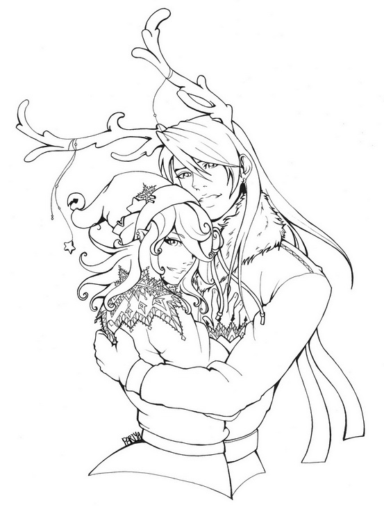 Horns of Happiness-Line Art by Piku-chwan