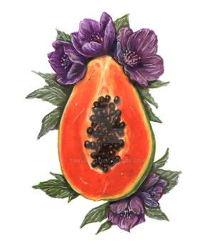 Papaya and Hellebore flowers