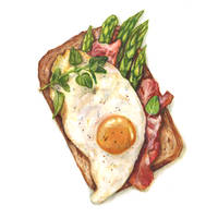 Toast with fried egg, bacon and asparagus