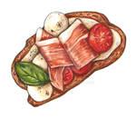 Toast with prosciutto by TanyaTej