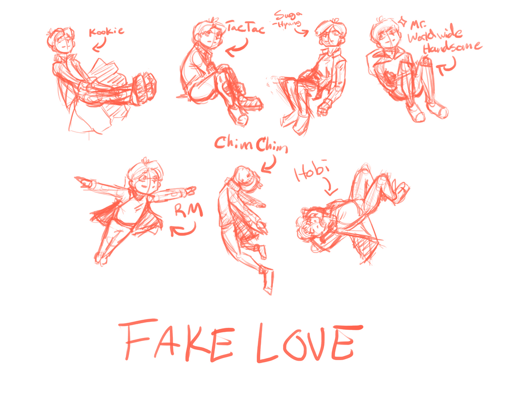 Bts fake love stickers wip sketches by desert carnation006