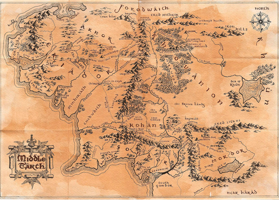 middle earth map by kethwyn2013