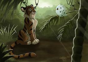 Tiger cub in jungle by ClaireLyxa