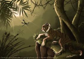 Tiger in jungle by ClaireLyxa