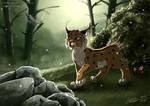 Lynx cub and Dragonfly