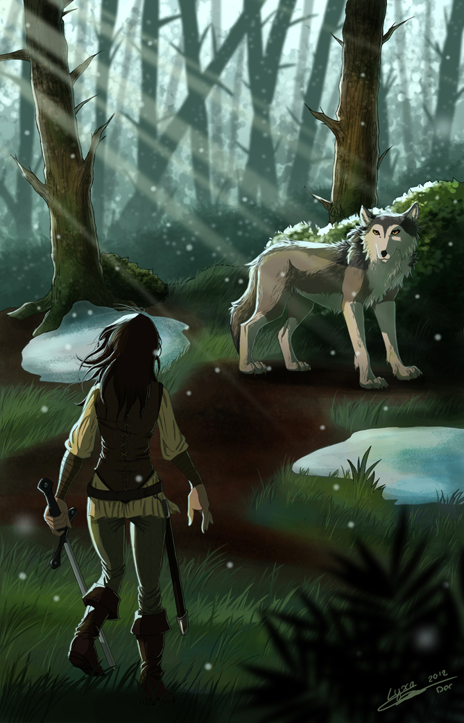 Fan-art №2 - Страница 14 Reunion_of_arya_and_nymeria_by_clairelyxa-d5p0lqj