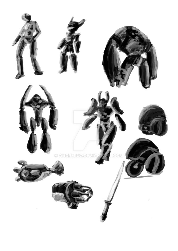 Robots Sketches 2 by andreruz