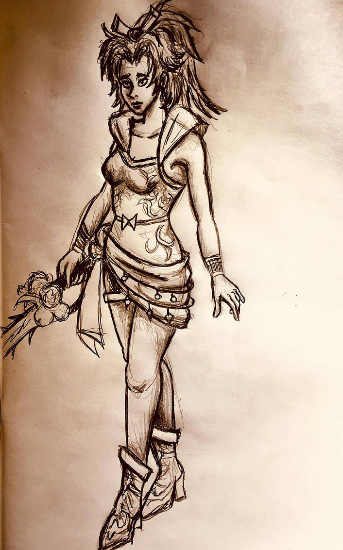 Terra Branford Pencil Drawing 2 by AxelFlame8