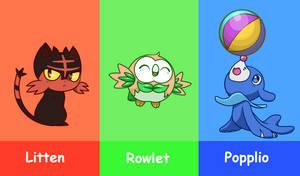 Pokemon Sun And Moon - Starters by Koki-arts