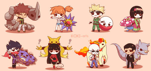 Chibi Pokemon Kanto Gym Leaders