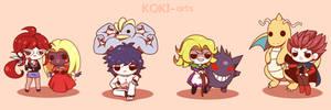 Chibi Pokemon Kanto Elite Four by Koki-arts