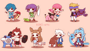 Chibi Pokemon Johto Gym Leaders by Koki-arts
