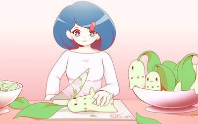 Chikorita Salad by Koki-arts
