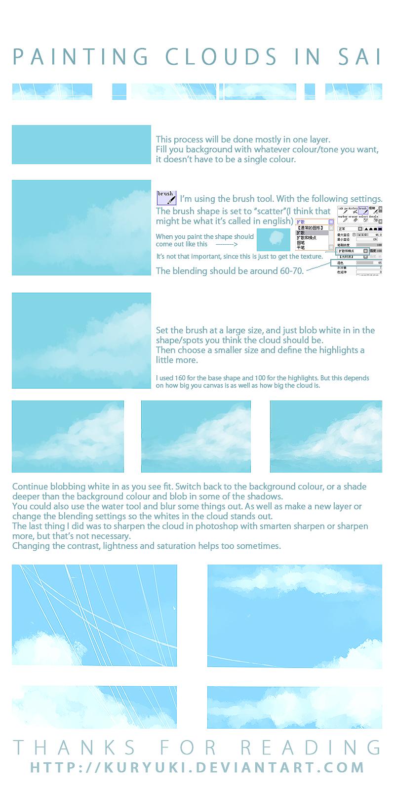 Cloud Painting Tutorial in SAI by kuryuki