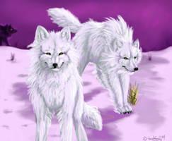 Ghost Wolves by brushfirewolf