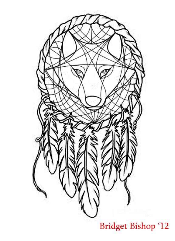 Wolf Dream Catchers Drawings Dreamcatcher Wolf desi...