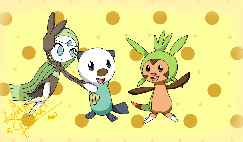 Chespin, Oshawott, Meloetta by LaahGata on DeviantArt
