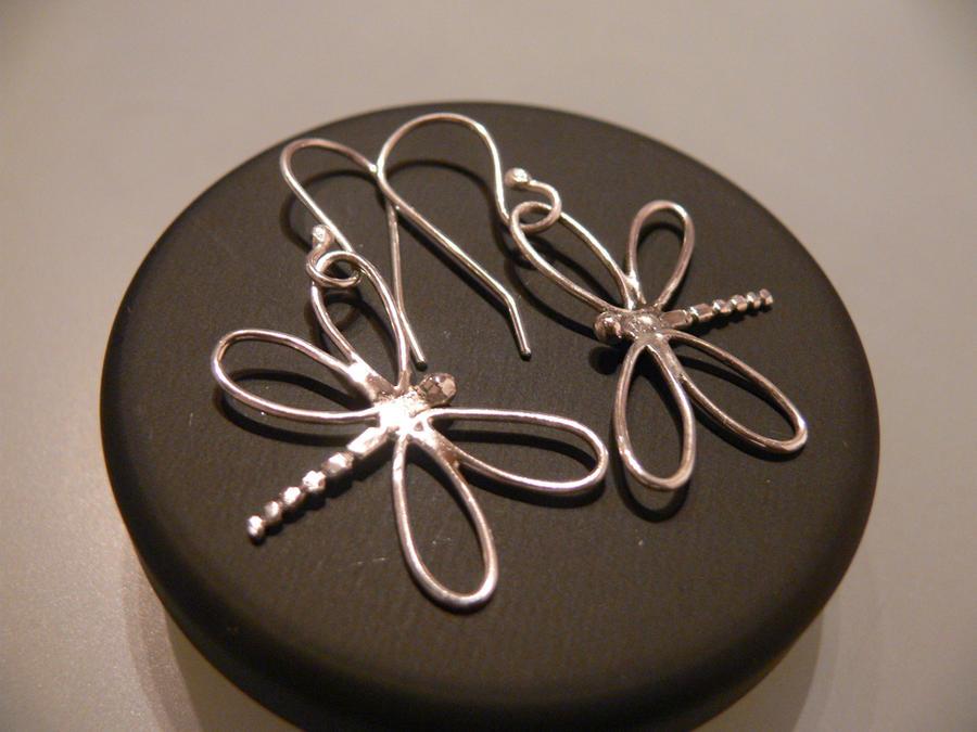 silver dragonfly earrings by irineja