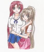 Sonozaki Twins -re-coloured- by NinaChan95
