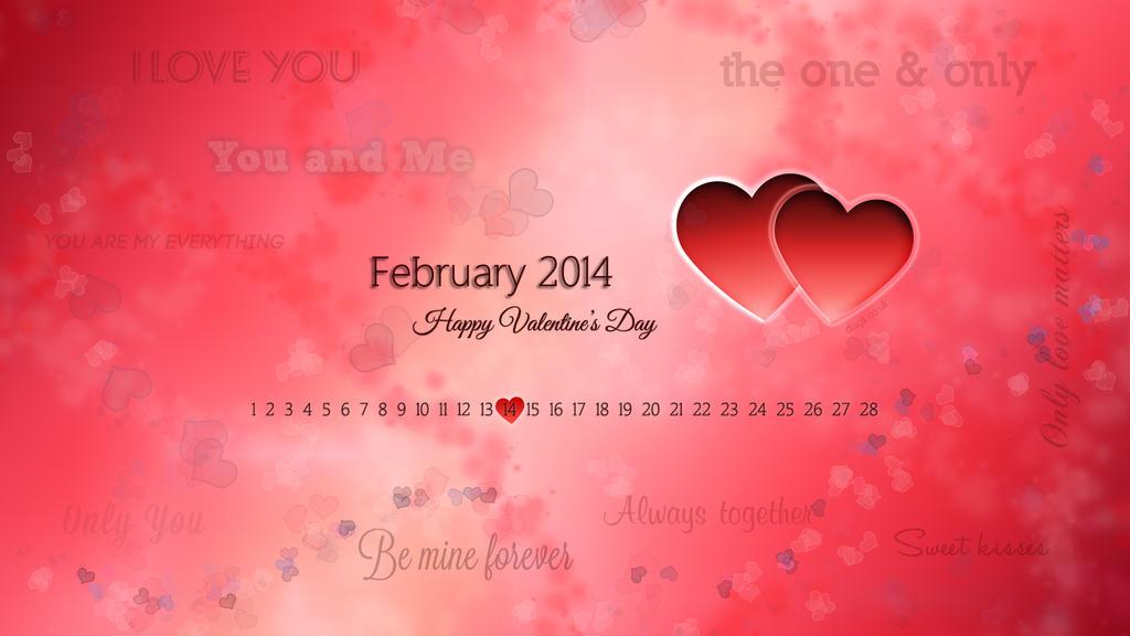 February 2014 desktop wallpaper Valentine theme by DiaGK on DeviantArt