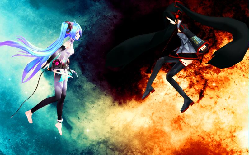 Zatsune vs. Hatsune Background by MikaAlaMode