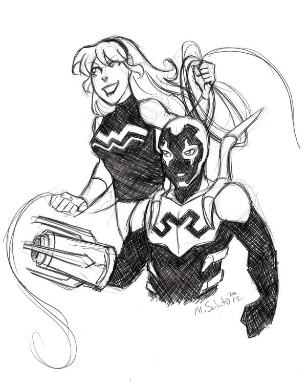 Wonder girl and blue beetle sketch by msciuto on deviantart for Blue beetle coloring pages