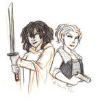 Michonne and Andrea Sketch