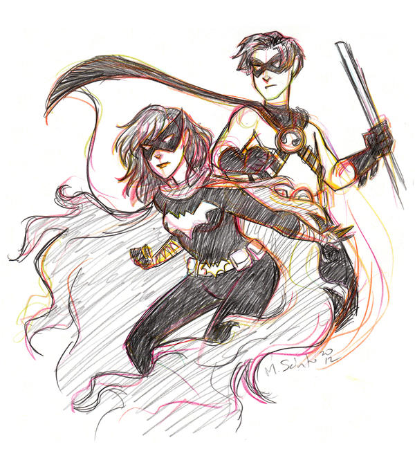 Black Bat and Red Robin Sketch by msciuto