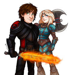Hiccup and Astrid by msciuto
