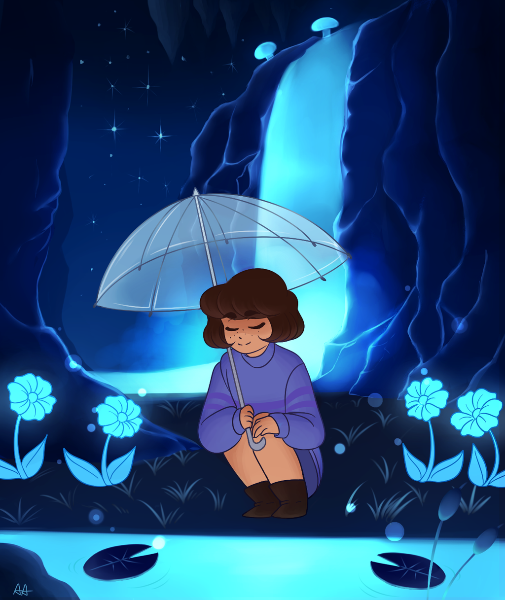 undertale frisk in waterfall - photo #4