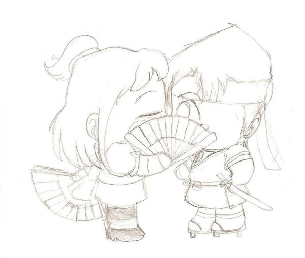 How to draw chibis kissing
