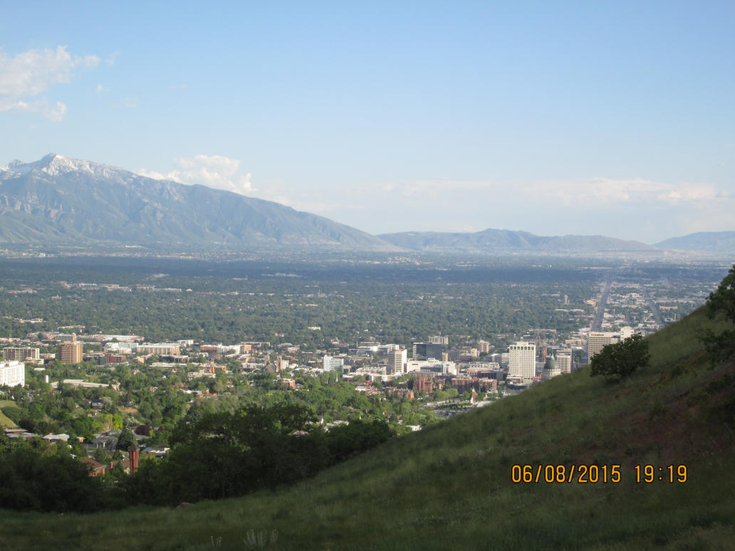 Ensign Peak Trail- view of Salt Lake City, UT by dragonfreak1112