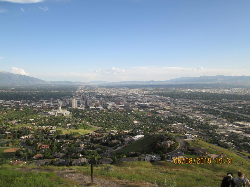 Ensign Peak (top)- view of Salt Lake City, UT by dragonfreak1112