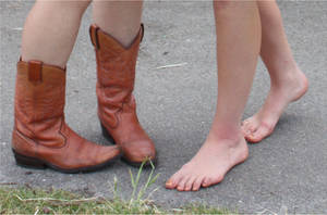 Boots and No Boots - Closeup by Barefooter73