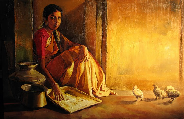 paintings of traditional tamil girls by hearthuntrz on