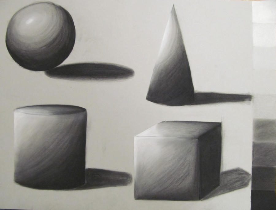 D Line Drawings Value : Value practice drawing shapes with conte crayons by
