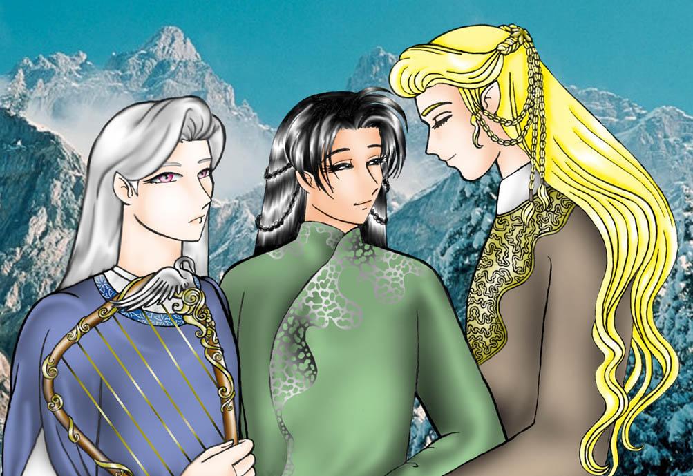 Lindir, Erestor y Glorfindel by Daga-Saar