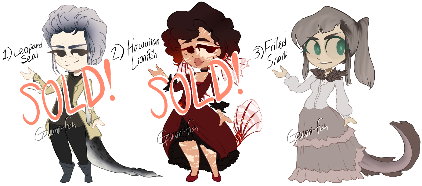 [OPEN] - Some sea creature-themed adopts yo by Guumi-fish